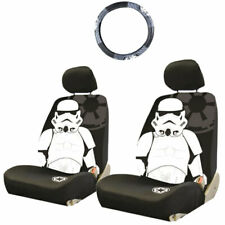 FOR KIA STAR WARS STORMTROOPER 3PC CAR SEAT AND STEERING WHEEL COVERS SET