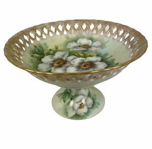 Hand Painted White Old Fashioned Rose Open edge Lattice Bowl Compote dish Porcel