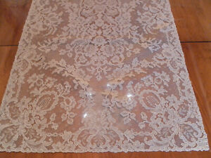 ANTIQUE VINTAGE ALENCON LACE ON NET TABLE RUNNER ORNATE