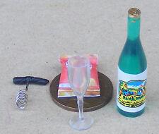 1:12 Scale Bottle Of Wine Crisps Cork Screw And Glass Dolls House Miniature