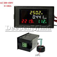 AC 200-450V LCD Digital Voltmeter Ammeter Volt Amp Power Kwh Panel Meter 100A CT