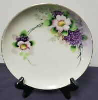 Meito China Hand Painted Purple Floral 7 1/2 Inch Plate Made In Japan