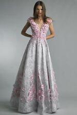 NWT Basix Black Label Cap Sleeve Floral Applique Gown *Size 4