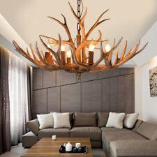 Deer Antler Resin Chandelier Loft Pendant Light LED Candle Bulbs Ceiling Lamp