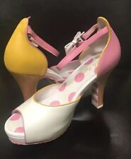 New In Box Lola Ramona Pink And Yellow Spotted Heels Polka dot Size 37