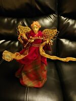 """Vintage Traditional Angel Christmas Tree Topper Red Gold Wings 12"""" Table Top"""