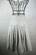 $495 BILL BLASS Ivory Oatmeal Tattersol Pleated Check Plaid Wool Kilt Skirt 10