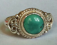 Sterling Silver Ethnic Asian Vintage Style Turquoise Stone Ring Size P Gift