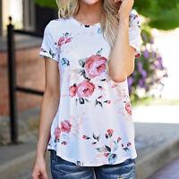 2017 New Summer Women Blouse Short Sleeve Flower Round Neck Casual T Shirt Tops