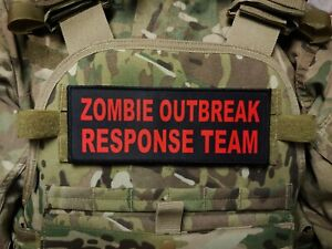 """3x8"""" ZOMBIE OUTBREAK RESPONSE TEAM plate carrier patch Red on Black"""