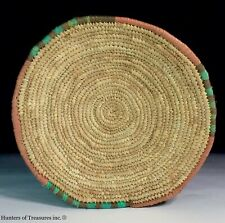 African Woven Coiled Grass Basket Hausa Tribal People from Nigeria 10 Inch.
