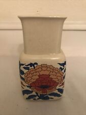 Irish Fine Earthenware Celtic Vintage Vase Ireland Stoneware Floral Orange Blue
