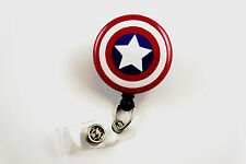 Captain America Inspired - Retractable ID Name Nurse Badge Holder Reel Superhero