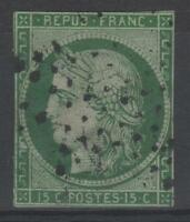 "FRANCE STAMP TIMBRE N° 2 b "" CERES 15c VERT FONCE 1850 "" OBLITERE A VOIR  N320"