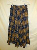 Kate Kasin Womens A Line Skirt Casual Elastic Pleated Plaid Printed Vintage look