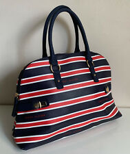 NEW! TOMMY HILFIGER RED BLUE WHITE DOME BOWLER SATCHEL TOTE PURSE BAG $85 SALE