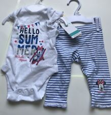 Disney minnie mouse body suit and pants set baby girl blue+white age upto 3 mth