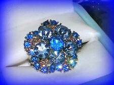 DECEMBER BIRTHSTONE BLUE TOPAZ CRYSTAL FLOWER RING ADJUSTABLE SIZE 7/8/9