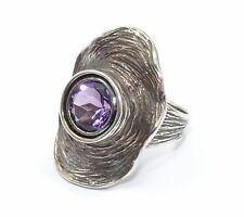 HAGIT GORALI MODERNIST SCULPTED AMETHYST STERLING RING * sz 7.5