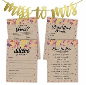 Inkdotpot Bridal Shower Games Set Of 4(50 Sheets Each) w / Miss-LNW