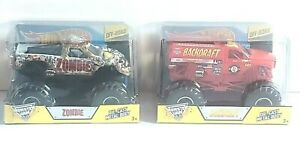 HOT WHEELS  OFF-ROAD MONSTER JAM ZOMBIE AND BACKDRAFT 1:24 Lot of 2