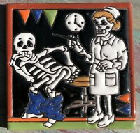 "1 Talavera Tile 4"" Day of the Dead Nurse Patient doctor's office shot scared Man"