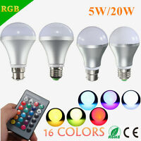 5W/20W E27 B22 RGB Color Changing LED Bulb Spot Flood Light Lamp 85-265V +Remote