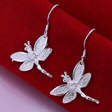 Fashion Women Dragonfly Ear Hook Dangle Earrings 925 Sterling Silver Plated