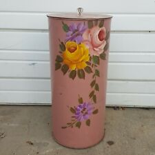 Vintage MCM Pink Roses Painted Metal Toleware Floral Trash Can Lid Shabby Chic