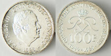 MONACO  ,  RAINIER  III  ,  100   FRANCS   ARGENT  1989  ,  SUPERBE