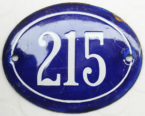 Old blue oval French house number 215 door gate plate plaque enamel steel sign