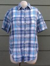 Merona Woman Shirt Size XL 50B Blue White Gray Plaid Linen Blend Top Blouse