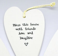 East Of India Porcelain Heart - Bless this house with friends love and laughter