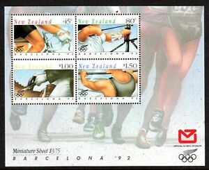 1992 NEW ZEALAND OLYMPIC GAMES BARCELONA 2nd issue minisheet SG1674 muh