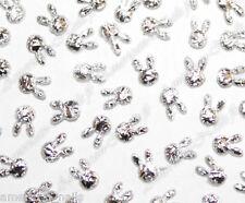 100 bijoux décos d'ongles Nail Art LAPINS tissu Argent Argenté