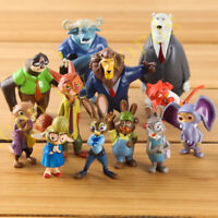 12 Pcs Disney Cartoon Movie Zootopia Zootropolis PVC Figure Cake Topper Gift Toy
