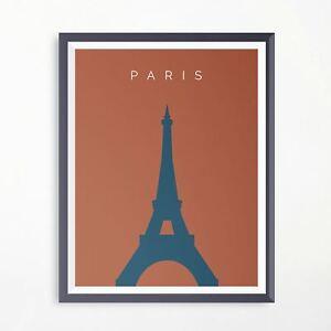 Paris Eiffel Tower Travel Print Minimalistic Poster Original