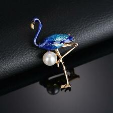 CG2480...GOLD PLATED & ENAMELLED BLUE FLAMINGO BROOCH - FREE UK P&P