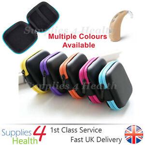 Hearing Aid Case Square Black Zip Storage Hard Carry Case Holder Heavy Duty Best