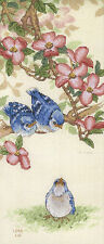 Cross Stitch Kit ~ Dimensions Baby Blue Jays and Dogwood Flowers #13728 OOP SALE