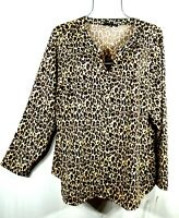 Zac & Rachel Women's Fall Leopard Print Top Blouse Shirt Plus Size 3X NWT