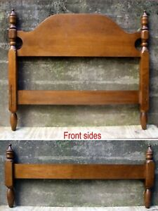 Vintage Antique Old SOLID Wood Wooden Twin Bed Frame Head Foot Board Headboard