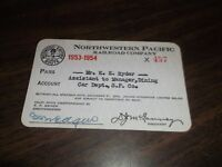 1953-1954 NORTHWESTERN PACIFIC RAILROAD EMPLOYEE PASS #457