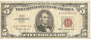 1963 $5 U.S.note A40379672A