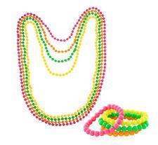 Neon Beads Necklace/Bracelet 80s Costume Accessory Bright Rave Fancy Dress Bands