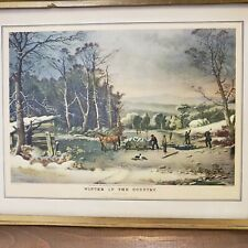 "Courier & Ives Framed 10"" x 8"" Print Getting Ice - Winter in the Country Vintage"
