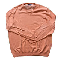 MASSIMO DUTTI Men Cotton Cashmere V-Neck Orange Jumper Sweater Size XL