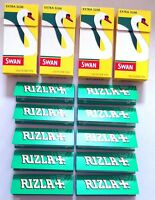4 x SWAN EXTRA SLIM 480 Tips and 10 x Booklets of RIZLA GREEN 500 ROLLING PAPERS