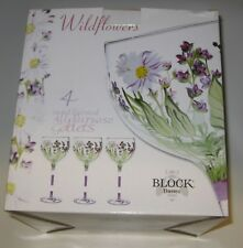 Block Crystal Hand Painted All Purpose 20 oz. Goblets Wildflowers 4 Glasses