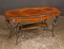 French style burl walnut coffee table with serpentine shaped top, sha. Lot 208